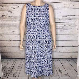 Dressbarn 18W Blue Floral Gathered Waist Dress
